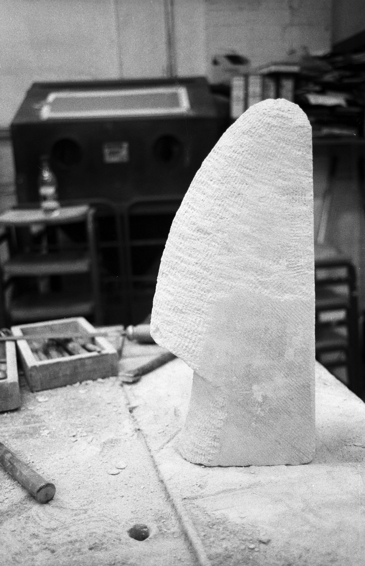Stone in progress, sculpture, rock, ch3, bw