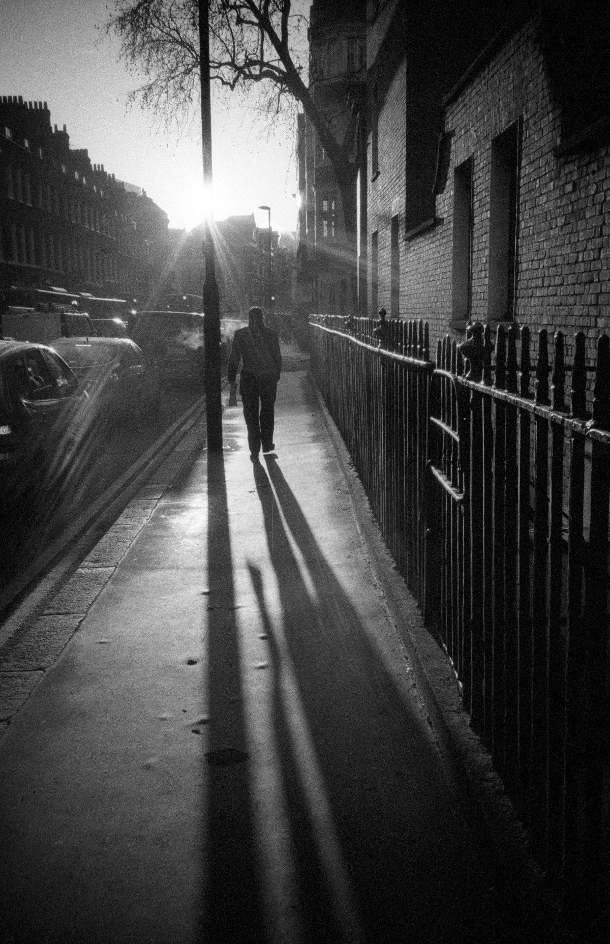 Walk to work, male, sun, bw