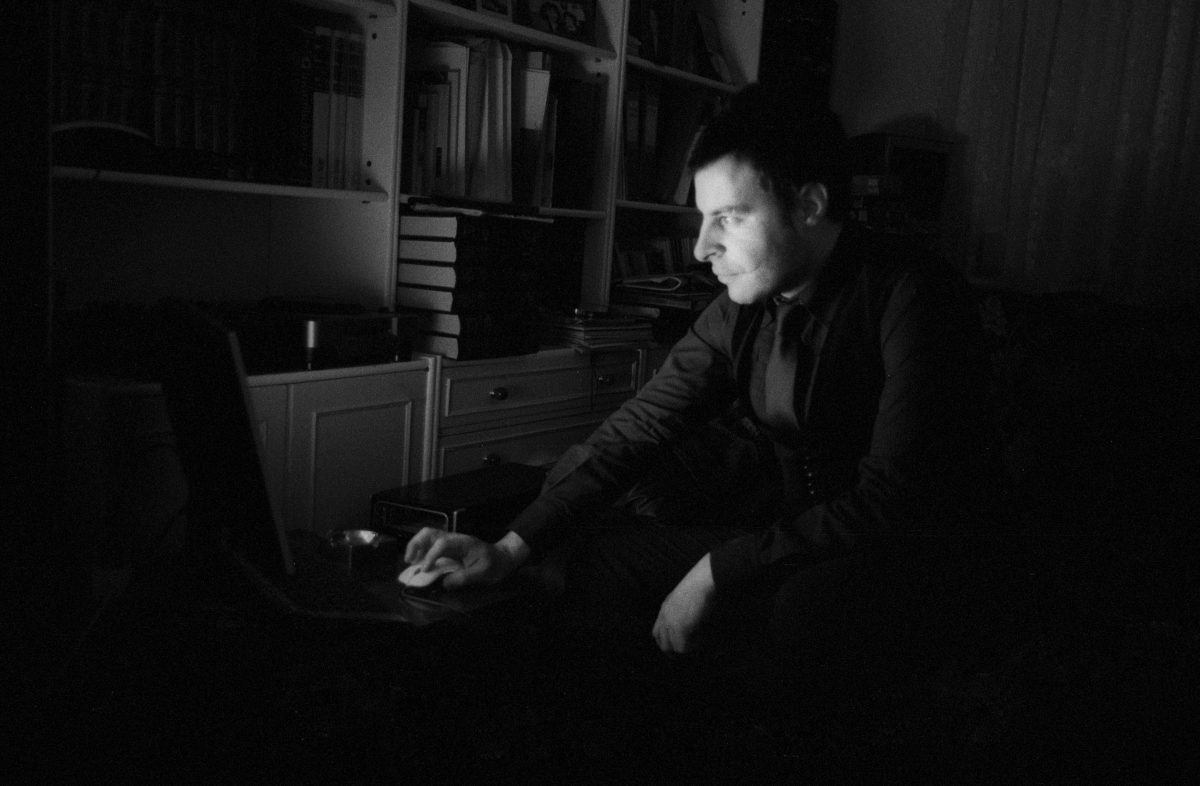 Alex, male, computer, night, face, bw
