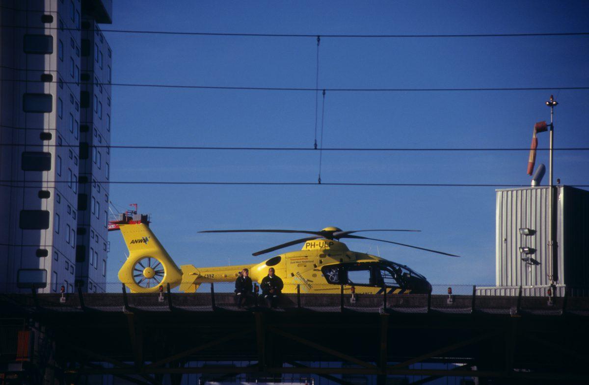 Lunch break, male, female, helicopter, sky