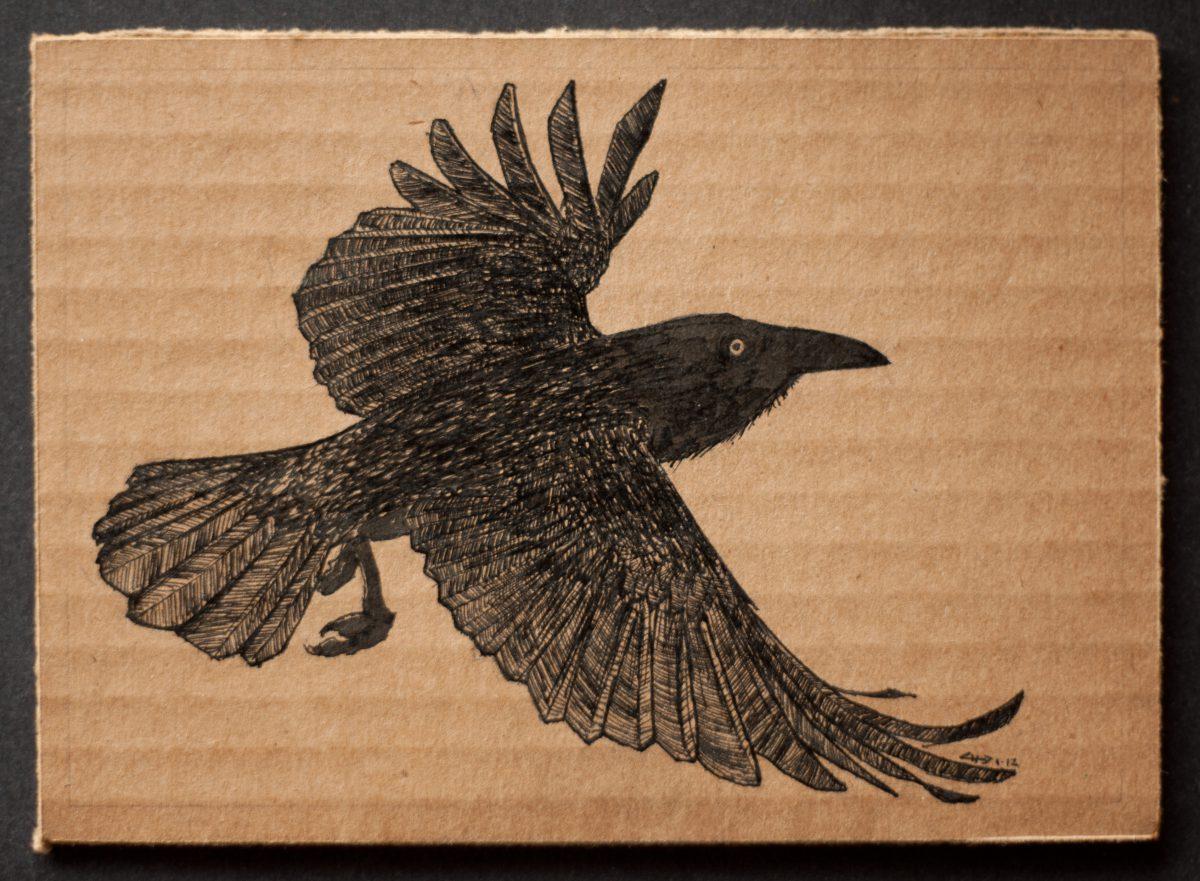 Flying crow - 18x13cm, ink on cardboard, ink, cardboard, ch3