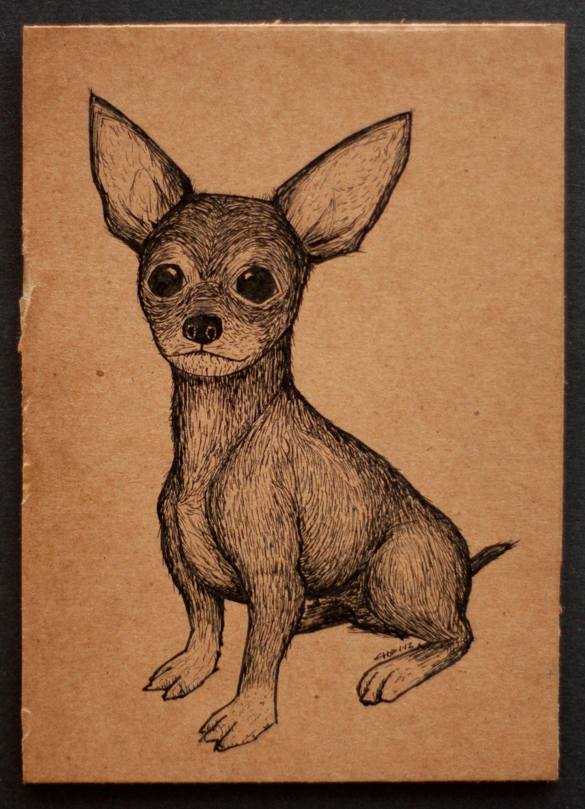 Chihuahua - 13x18cm, ink on cardboard, cardboard, ink, ch3