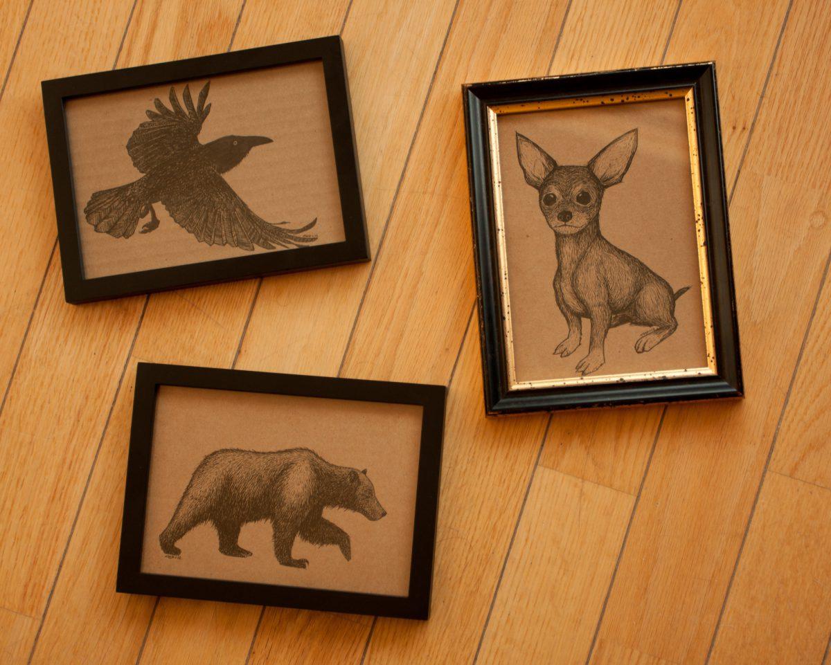 Framed cardboards, cardboard, ink, ch3