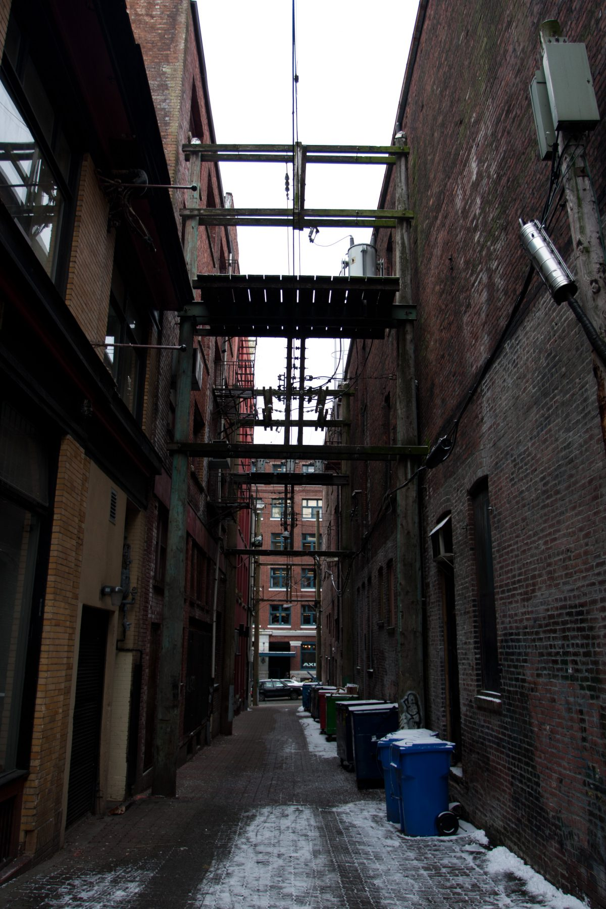 snow, building, alley, rubbish