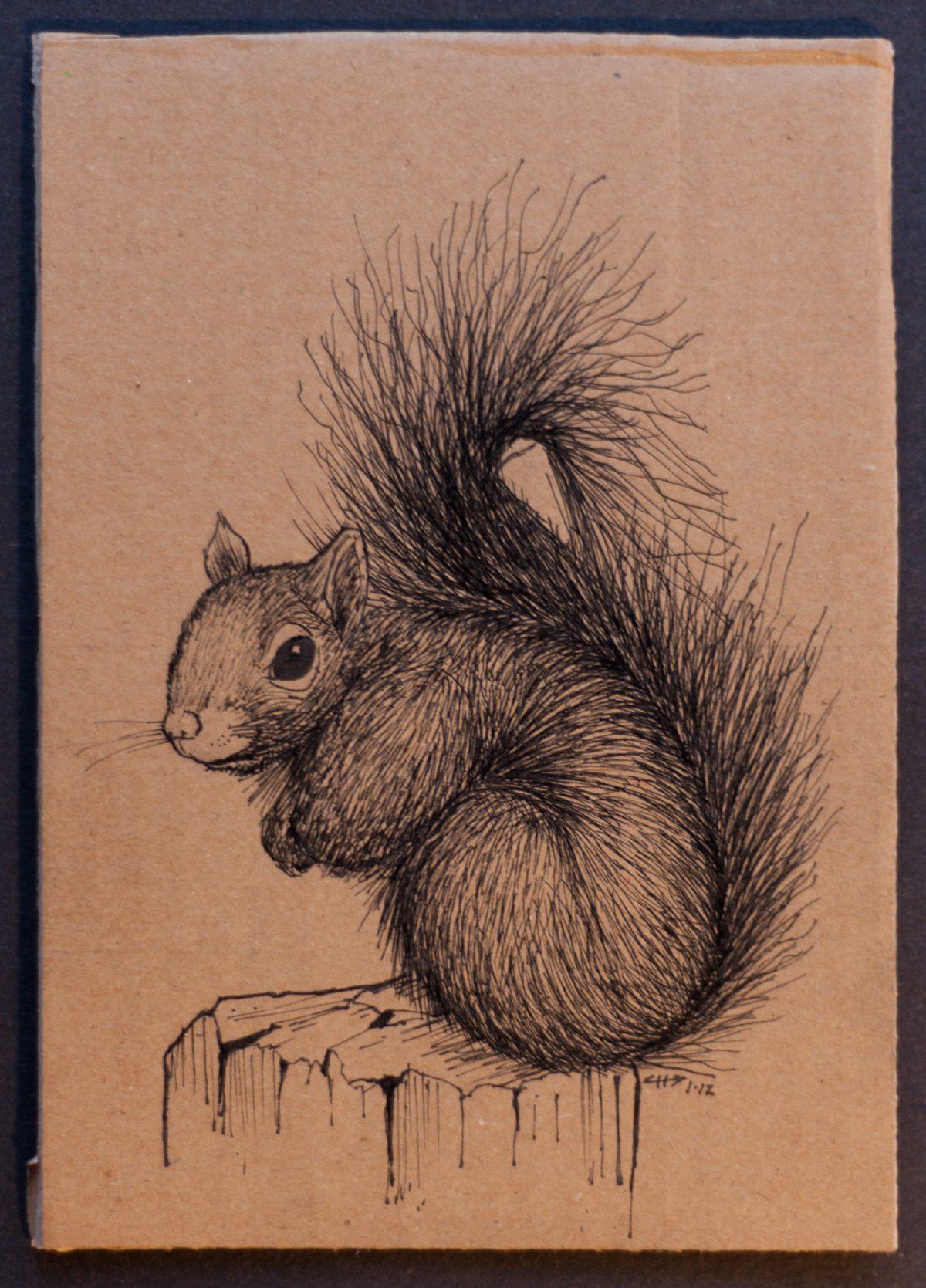 Squirrel - 13x18cm, ink on cardboard, cardboard, ink, ch3