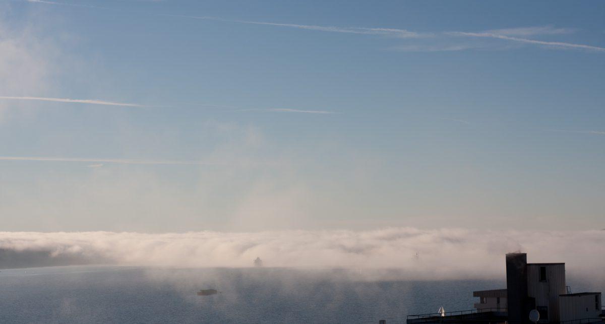 cloud, inversion, view, sea