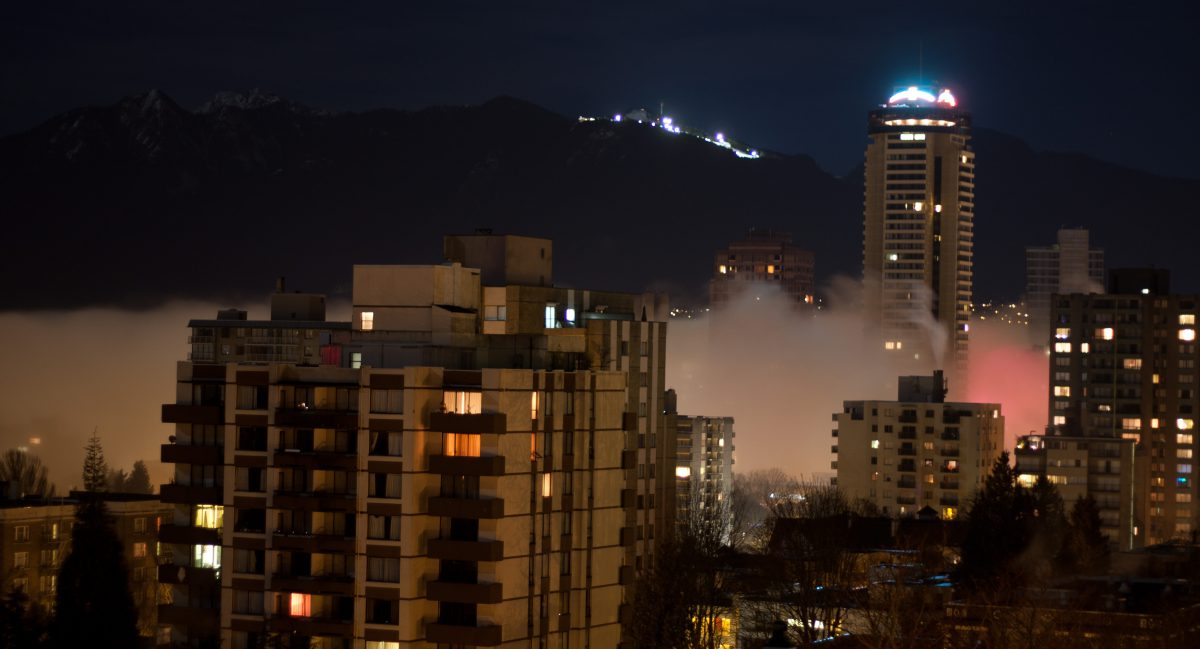 cloud, inversion, view, building, mountain, night