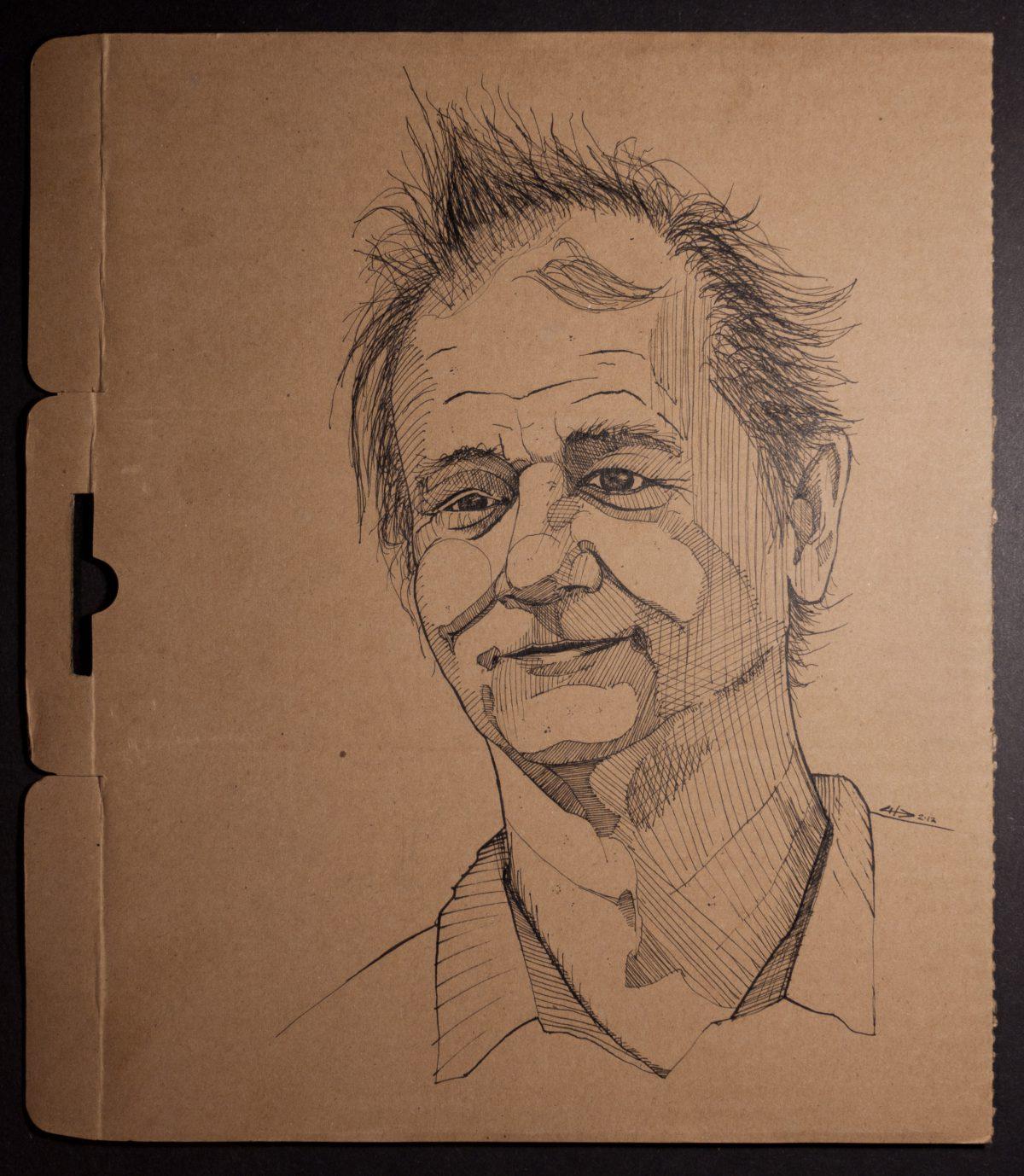 Bill Murray - 25x30cm, ink on cardboard, cardboard, ink, portrait, ch3