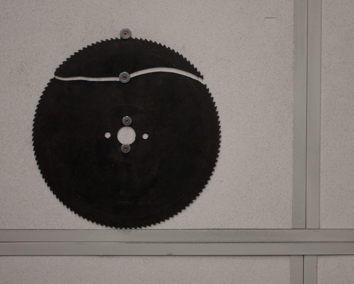 Be aware - At Emily Carr University metal workshop, metal, workshop, disk