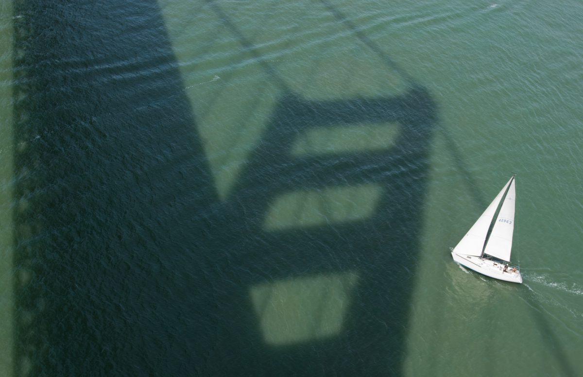 Sailboat under the bridge, boat, shadow