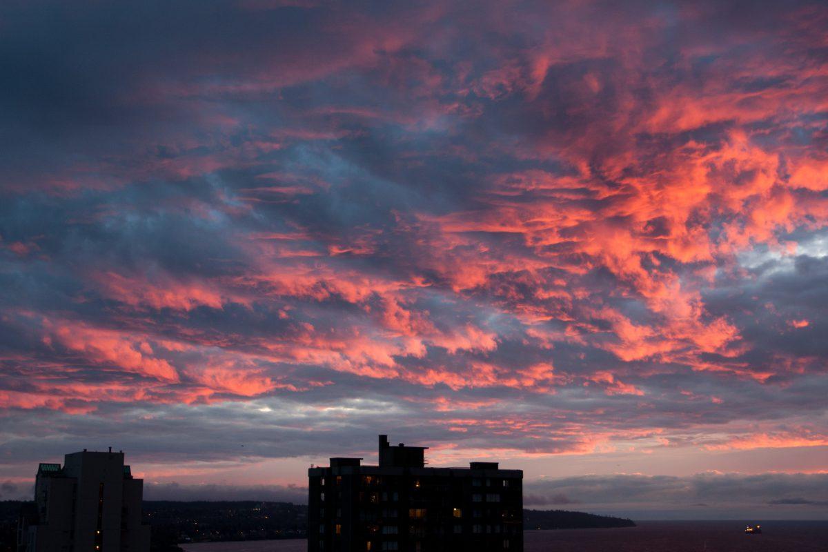 sunset, view, sky, cloud