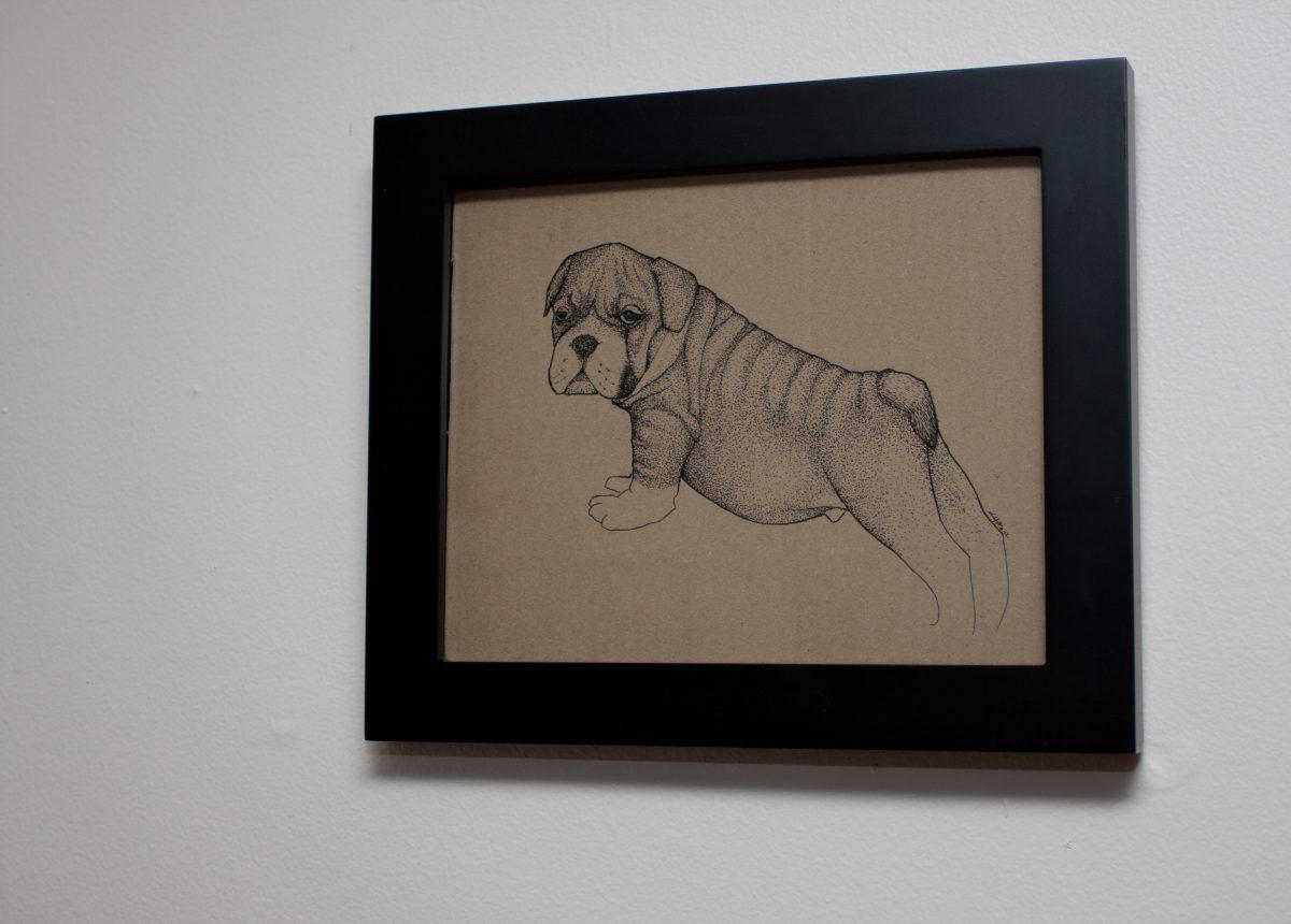 dog - 24x20cm, ink on cardboard, ch3, ink, cardboard, dog