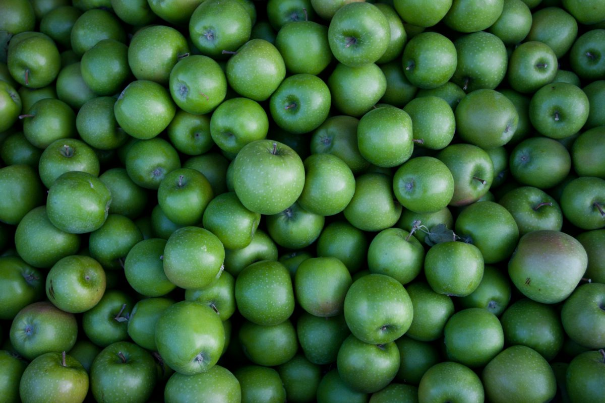 Green apples, fruit, pattern, many, color