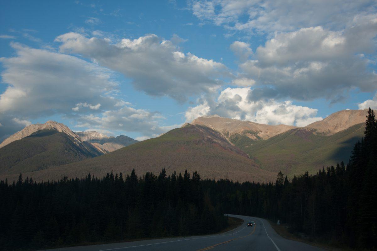 Rockies, mountain, road, cloud