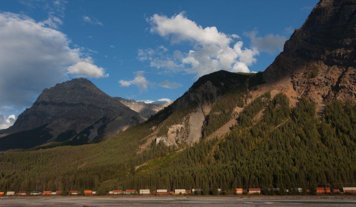 Rockies, mountain, cloud, train