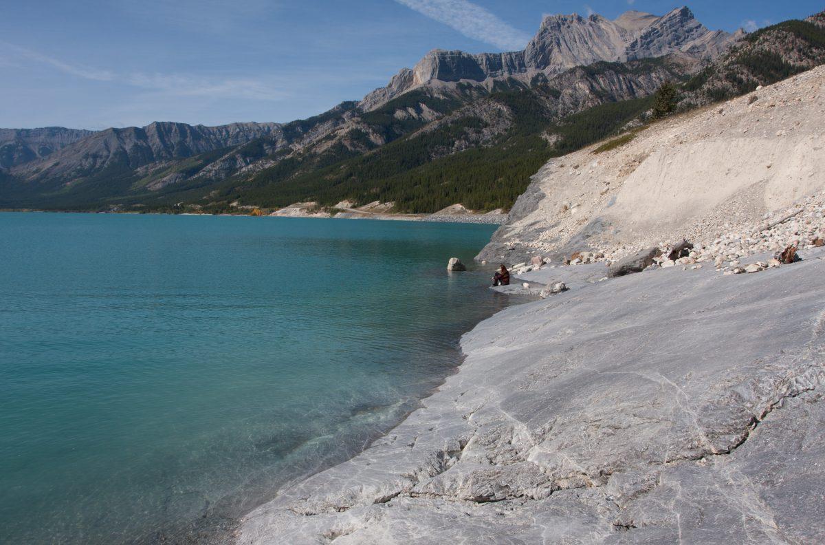 Rockies, lake, mountain, beach