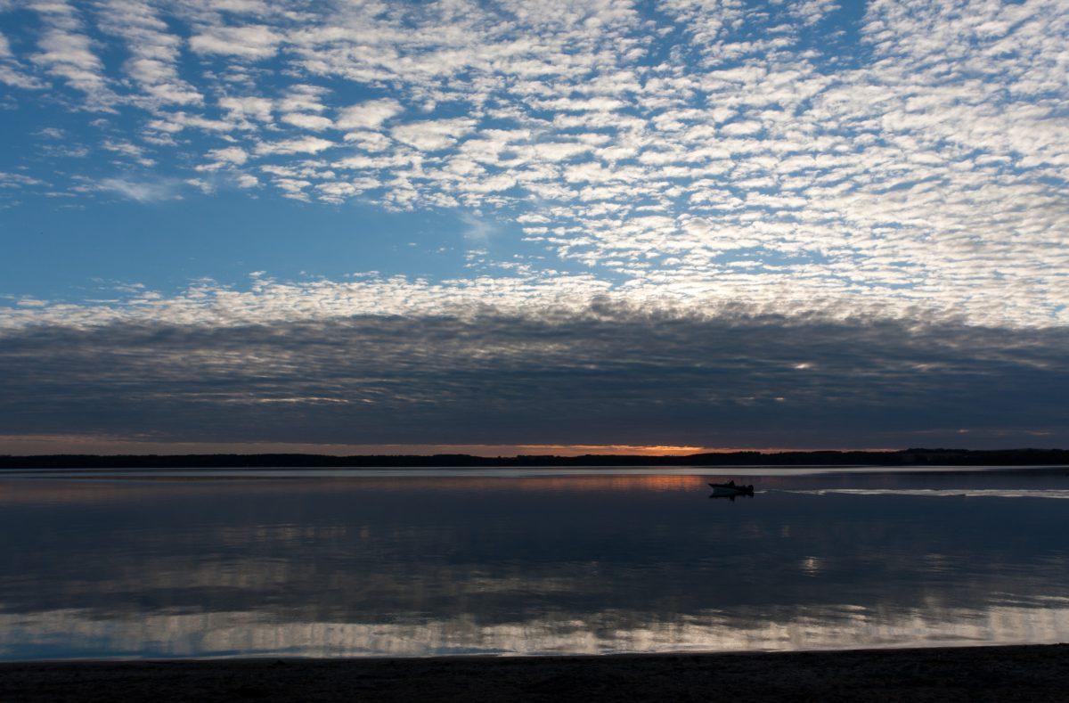 lake, reflection, sunset, cloud