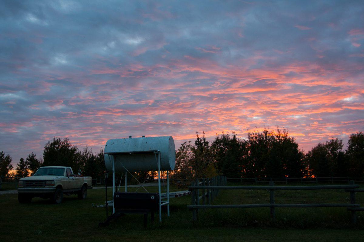 sunset, truck, cloud