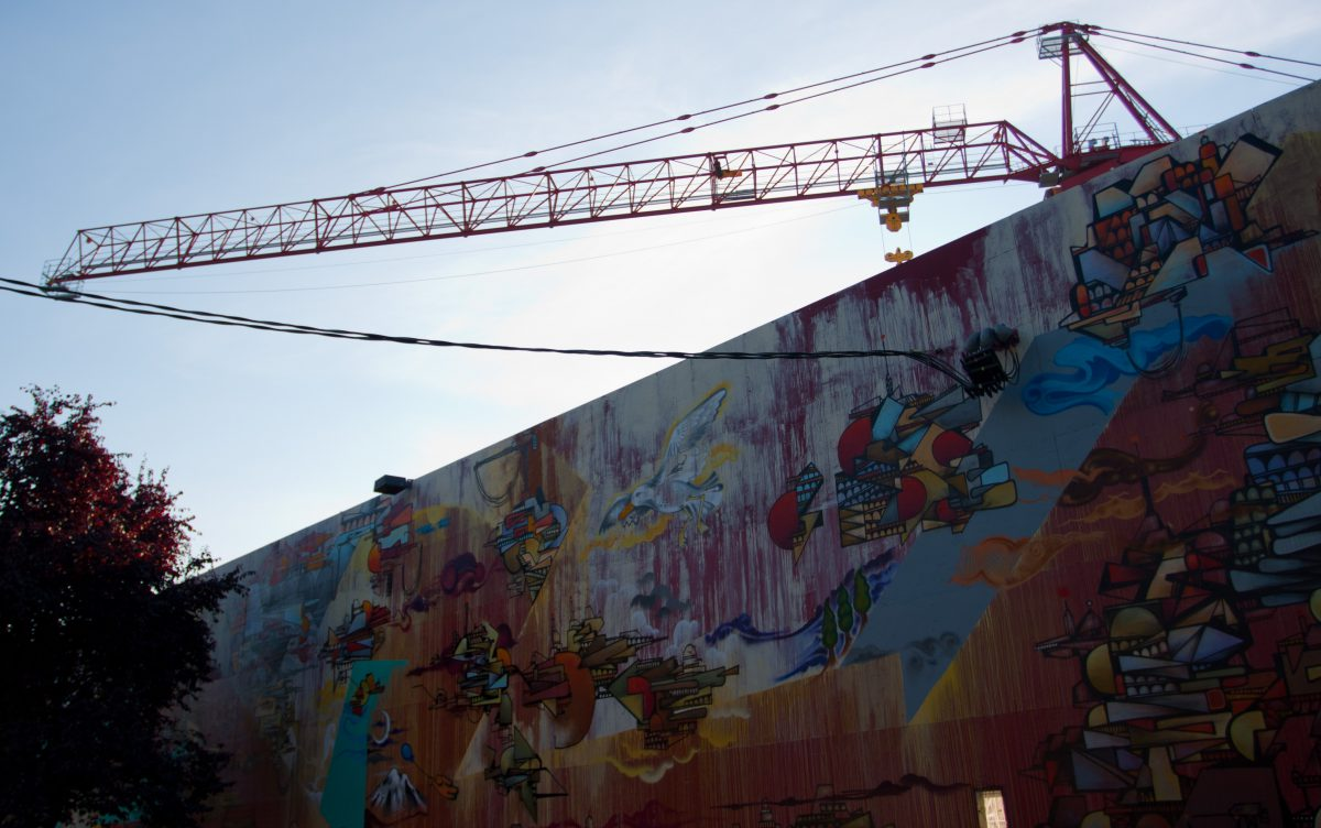 Capitol Hill, crane, graffiti