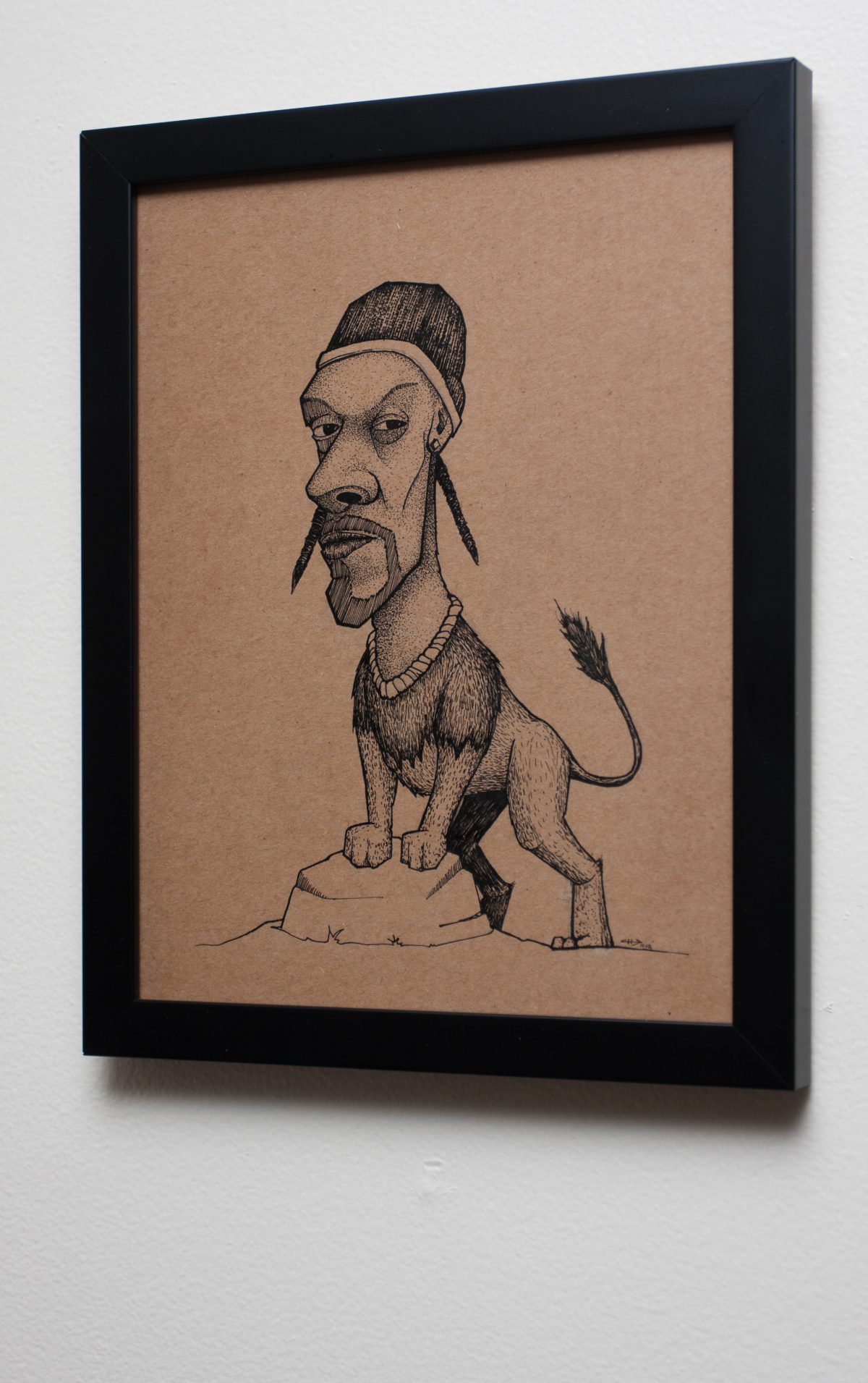 Snoop Lion - 22x28cm, ink and markers on cardboard Contribution to 'Drop it like it's art!', cardboard, ink, ch3