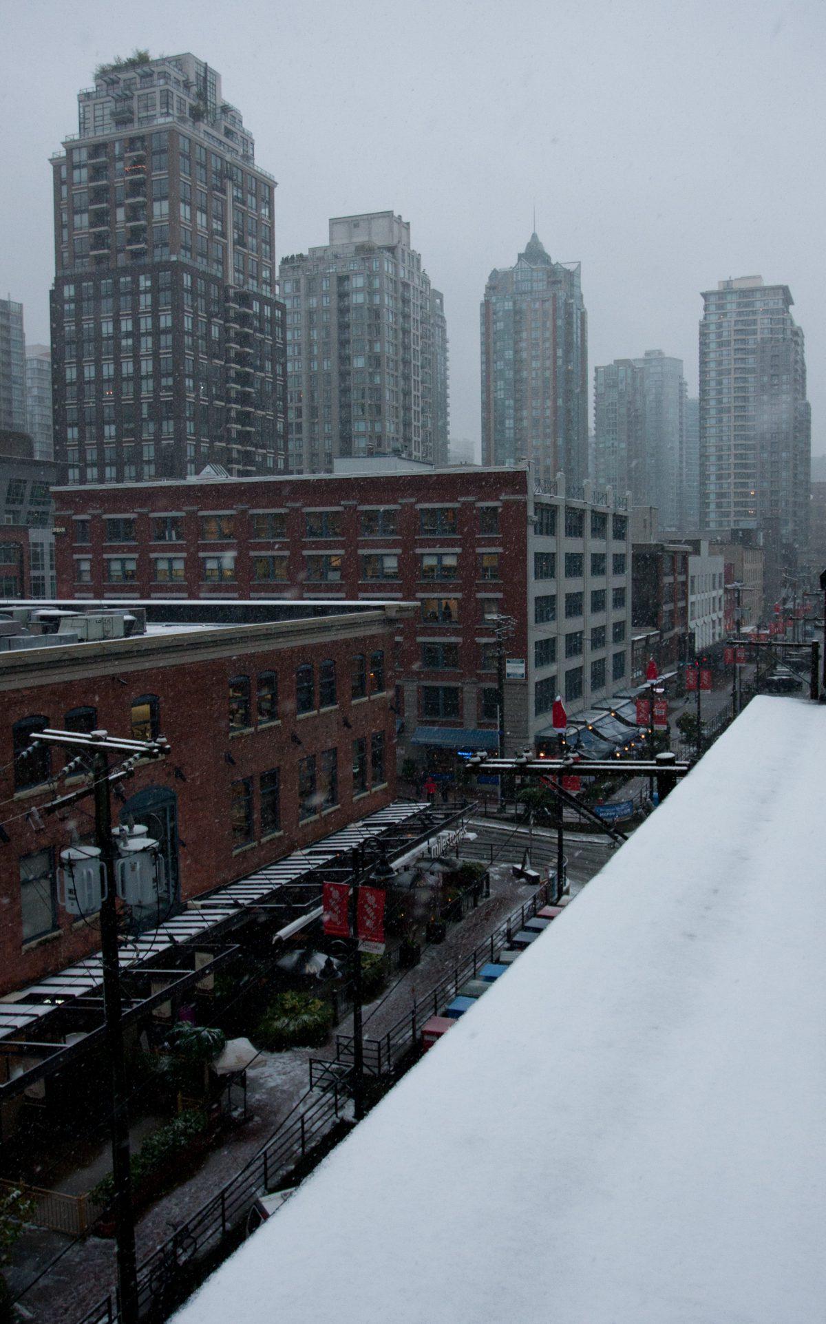 snow, city