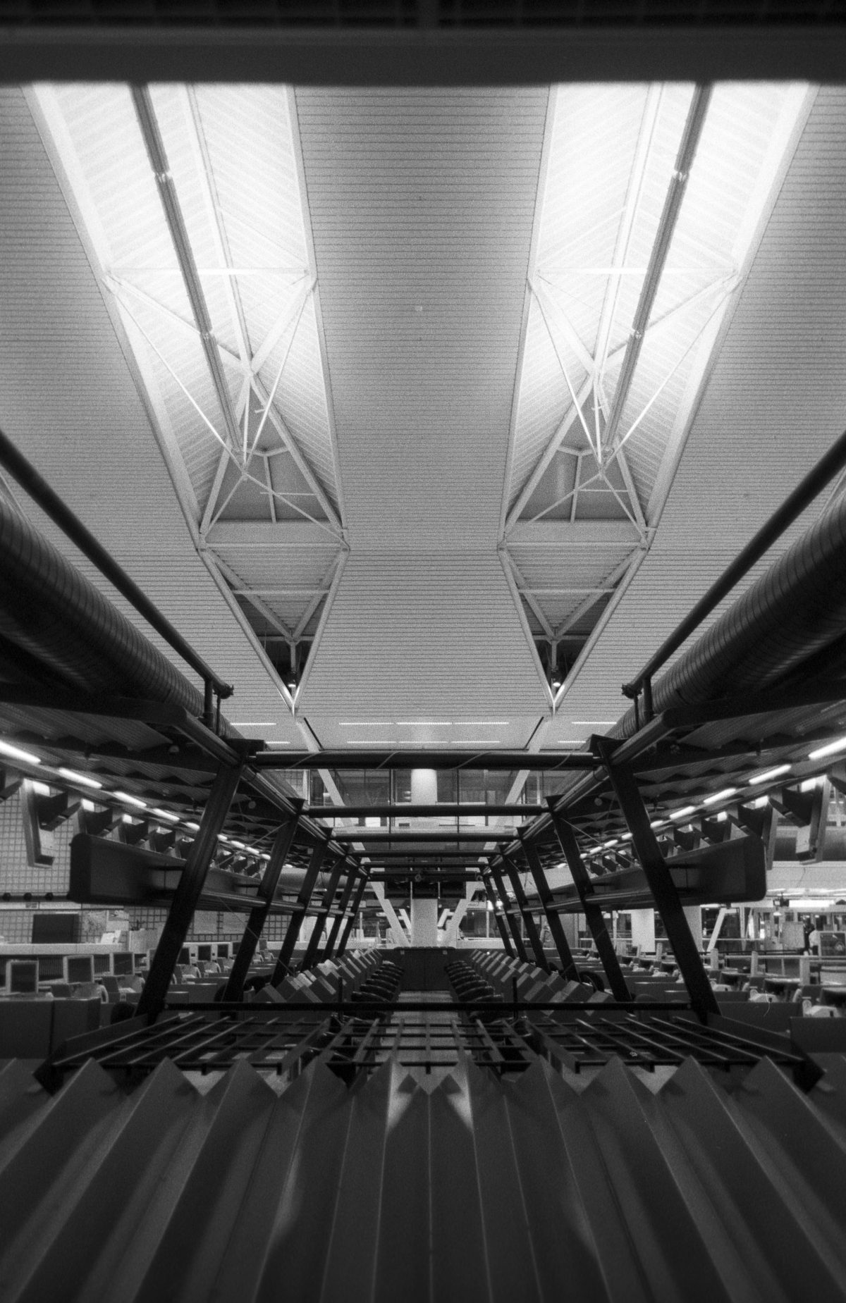 Empty airport, airport, bw