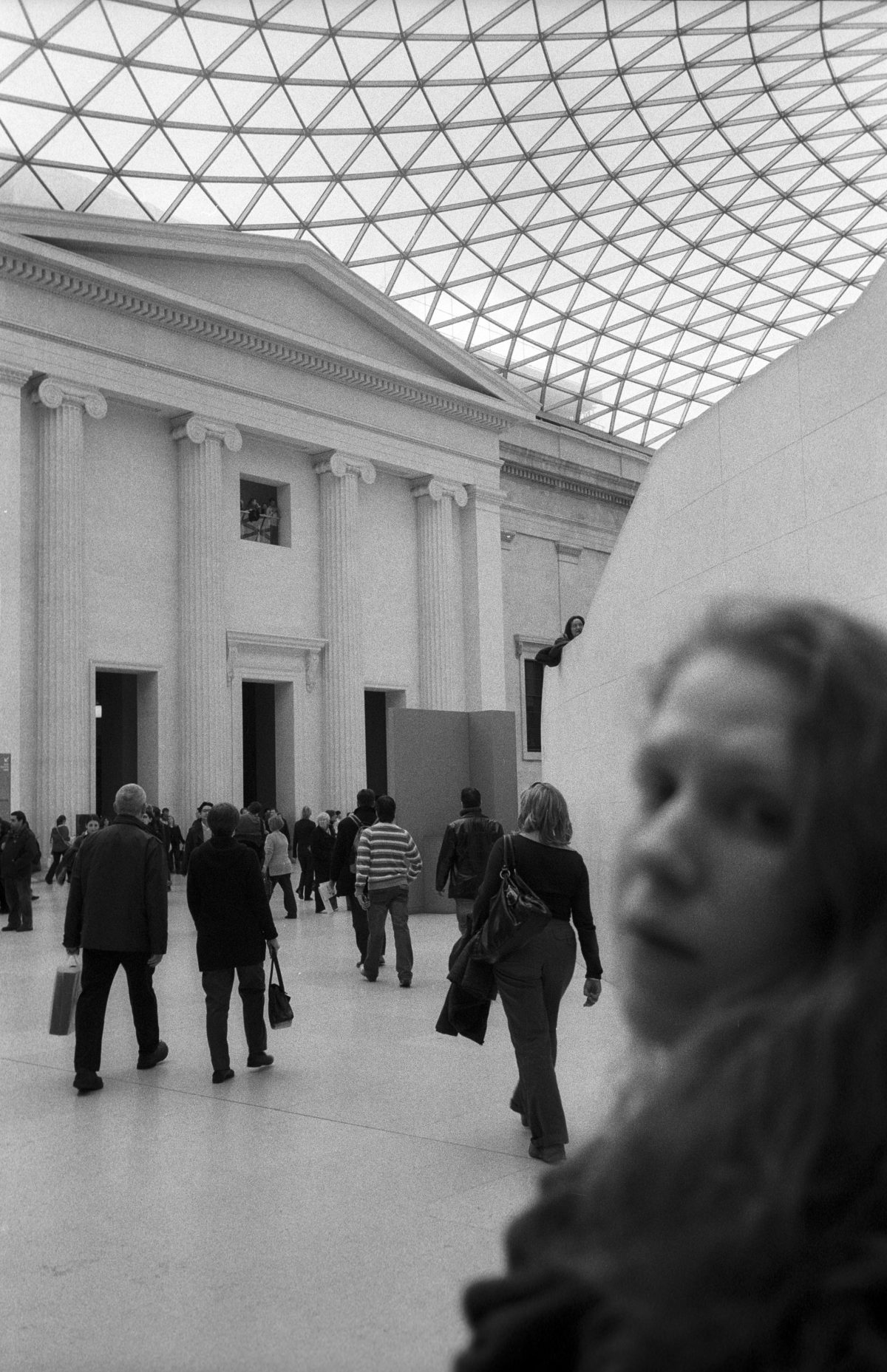 British museum, female, people, museum, face, bw