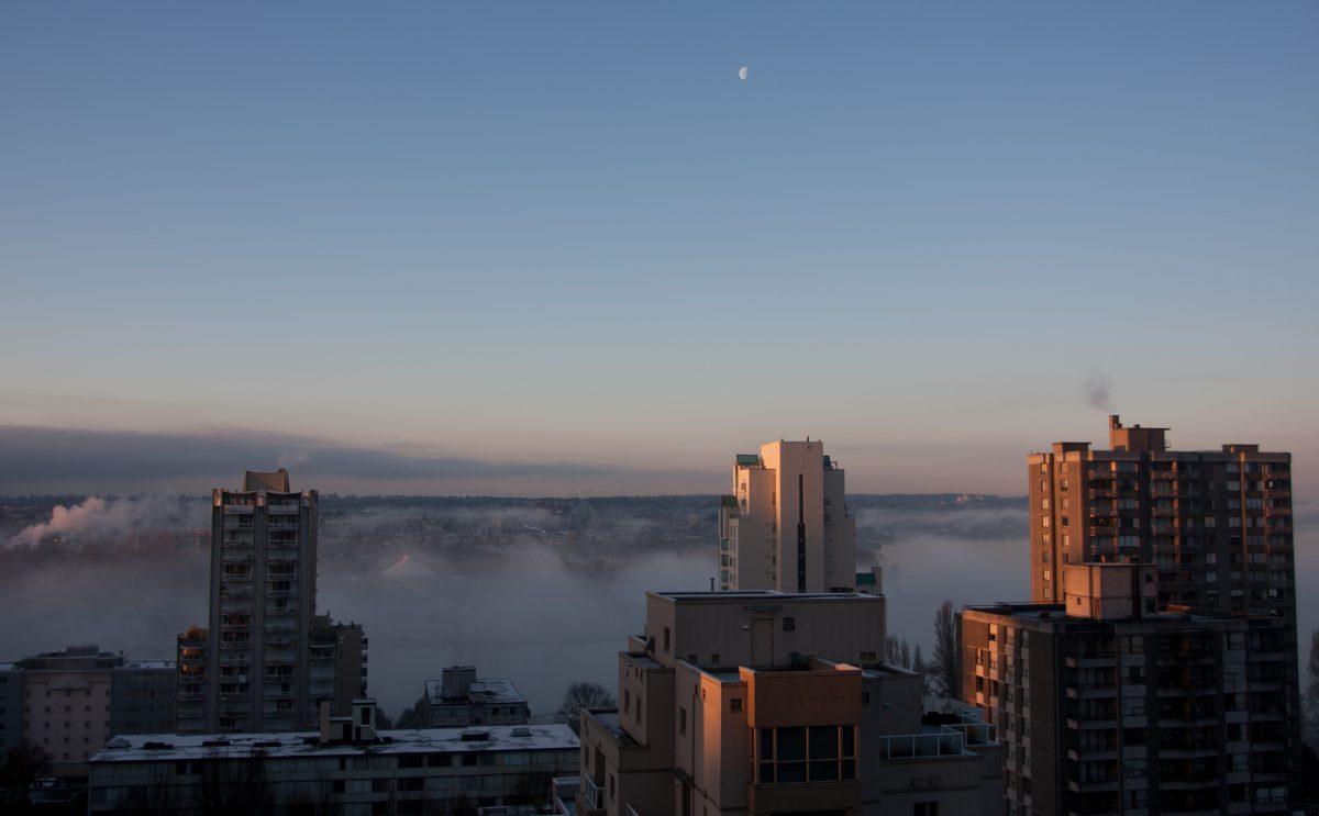 view, inversion, city, building, fog