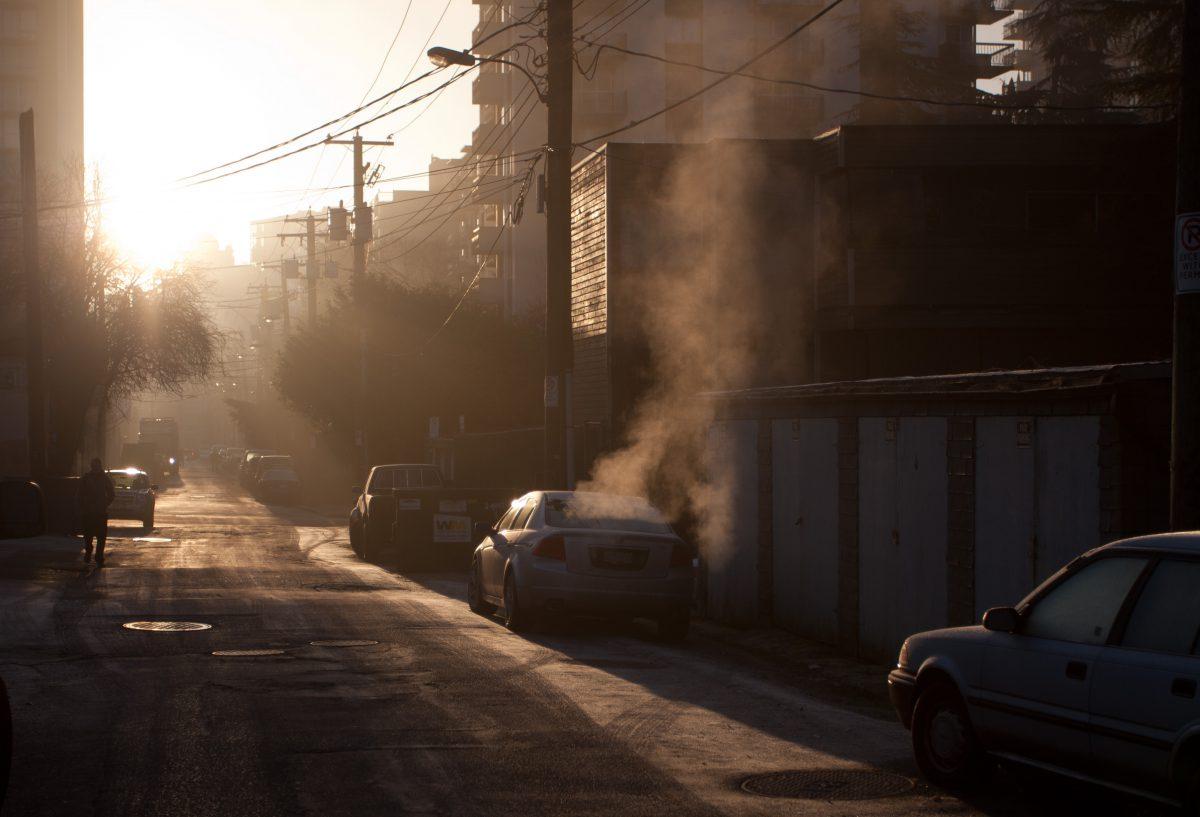 fog, inversion, road, sun