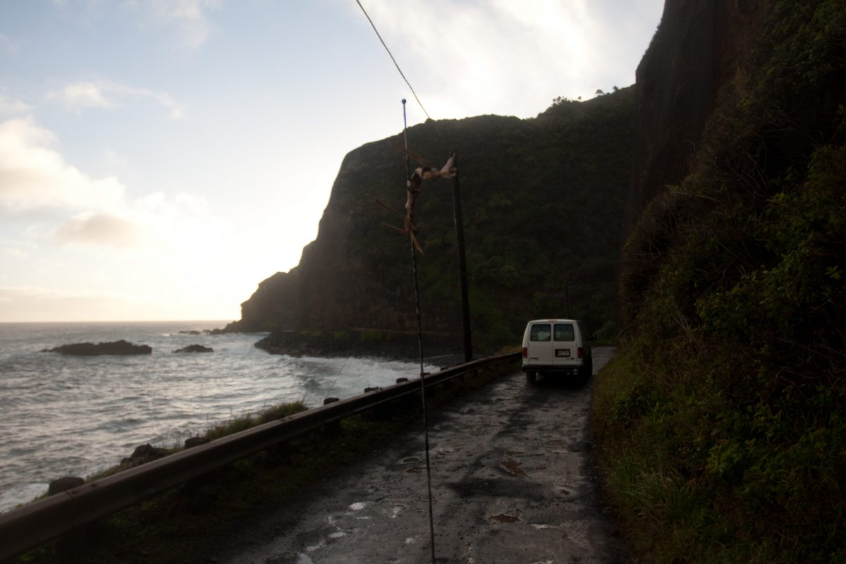 sea, rain, road, cliff