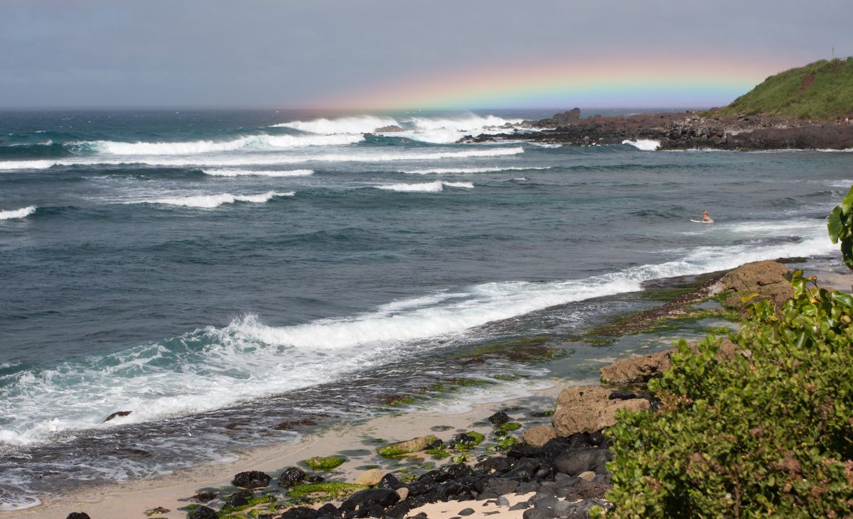 Hookipa, sky, sea, beach, rainbow, wave