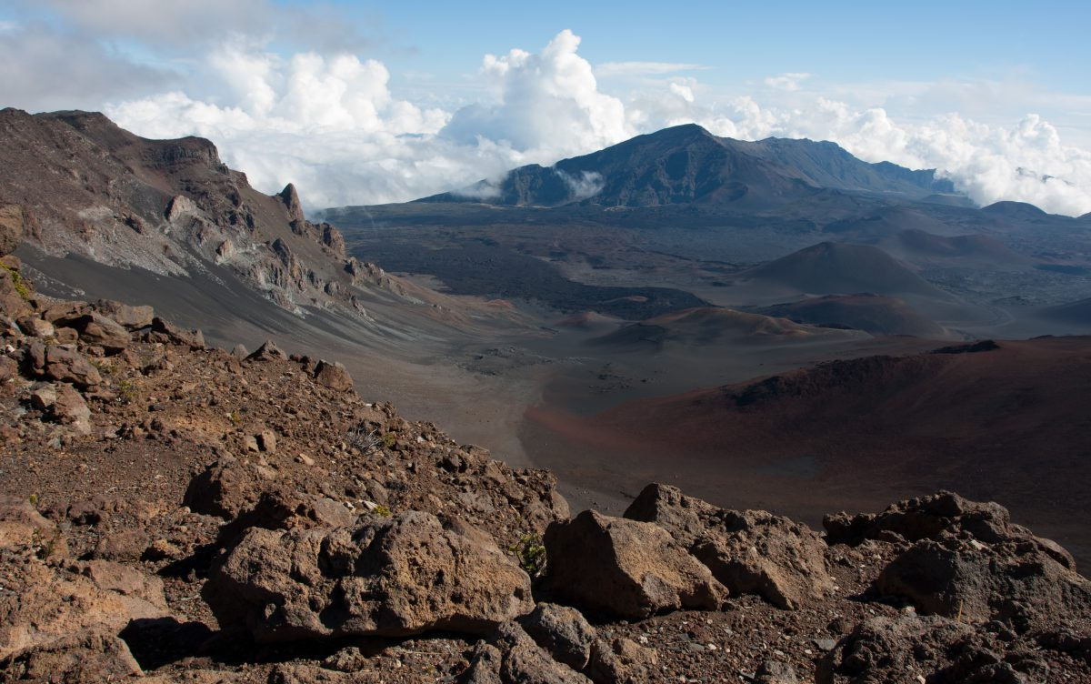 Haleakala - At the crater, cloud, volcano, rock, view