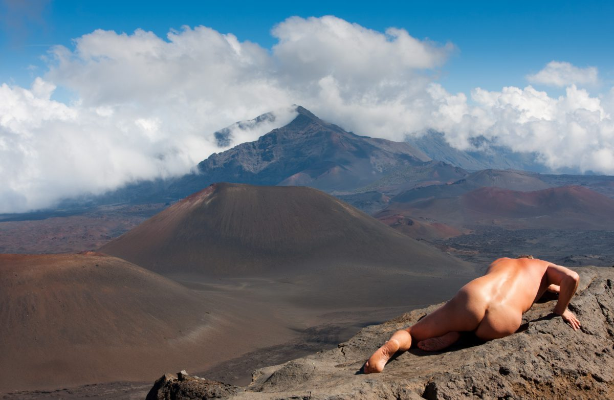 Haleakala - Derek, cloud, volcano, rock, nude, view
