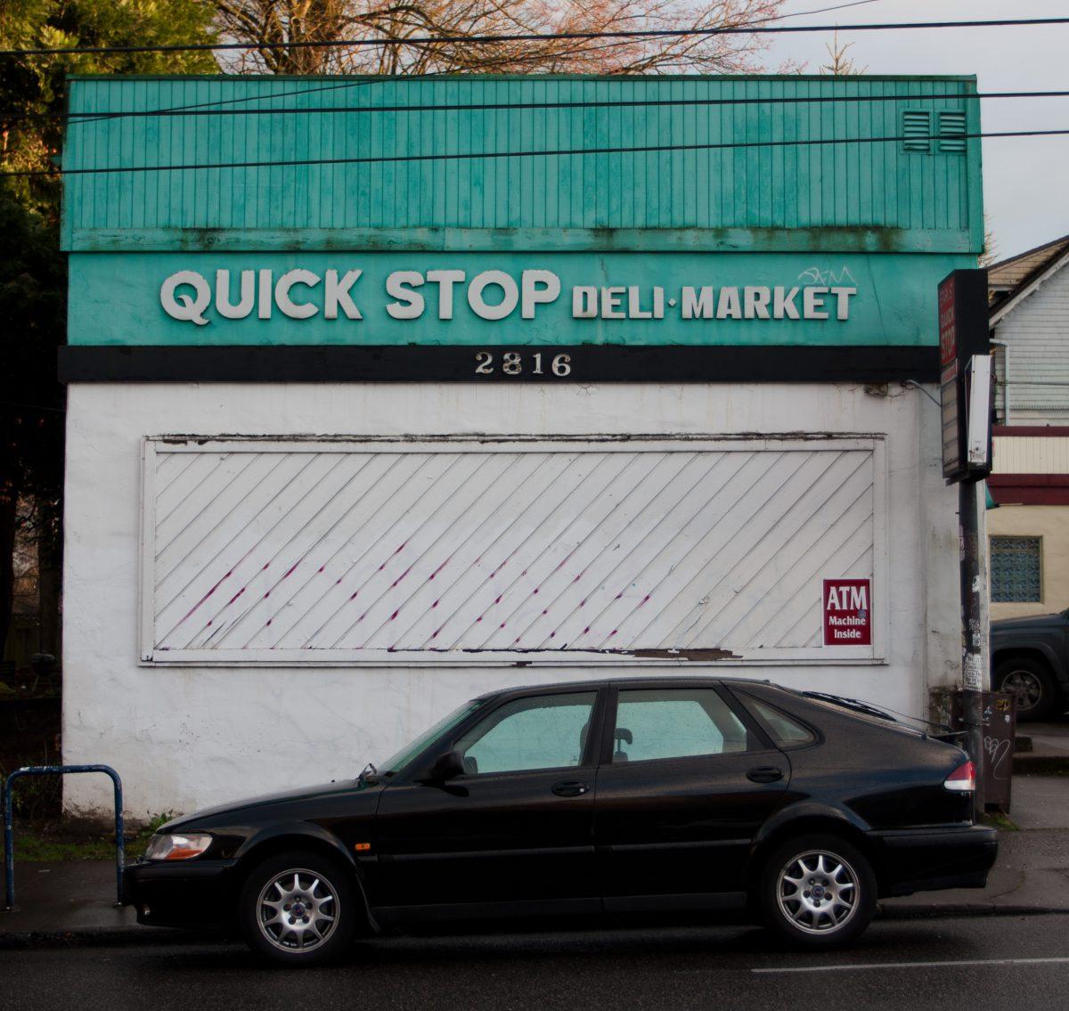 sign, vehicle, building, shop