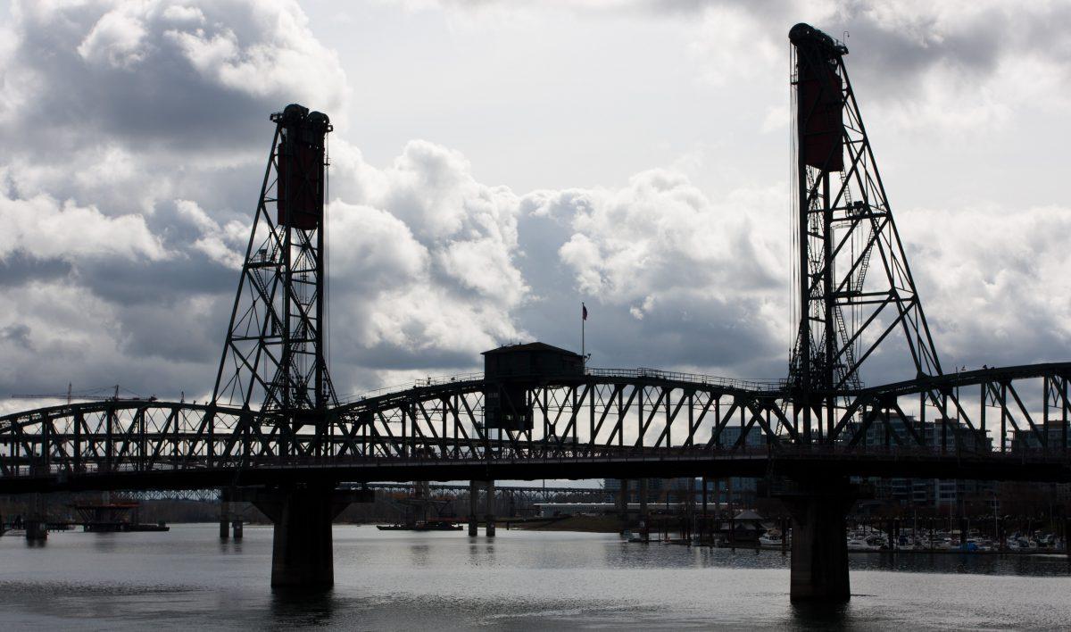 bridge, sky, river