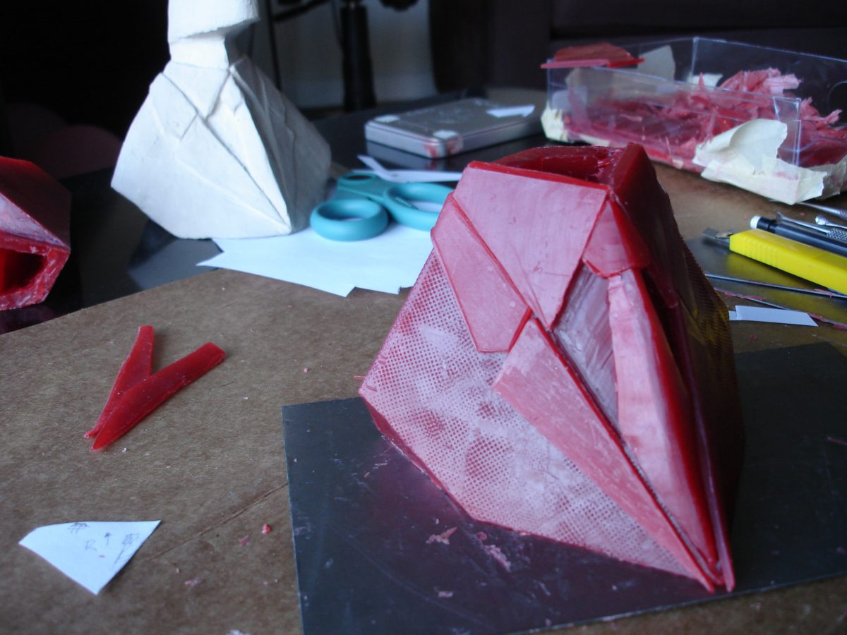 Divider - wip - More details and tie attempt 1, ch3, sculpture, process, wax