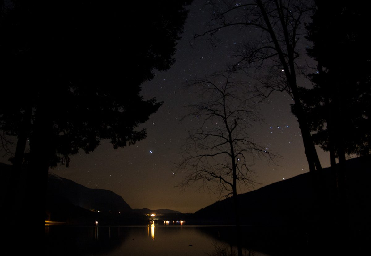 lake, water, night, star, sky