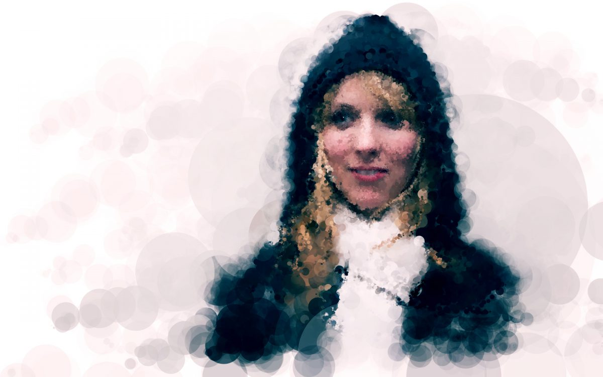 Stephanie - Digitally created images based on photograph using custom made brushes in Processing., ch3, digital, portrait, processing
