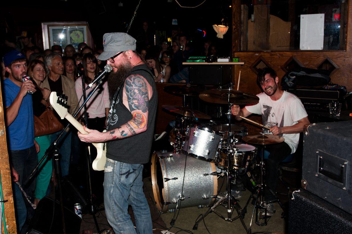 High Kicks - at Broken City - Calgary, venue, bar, guitar, drums, gig