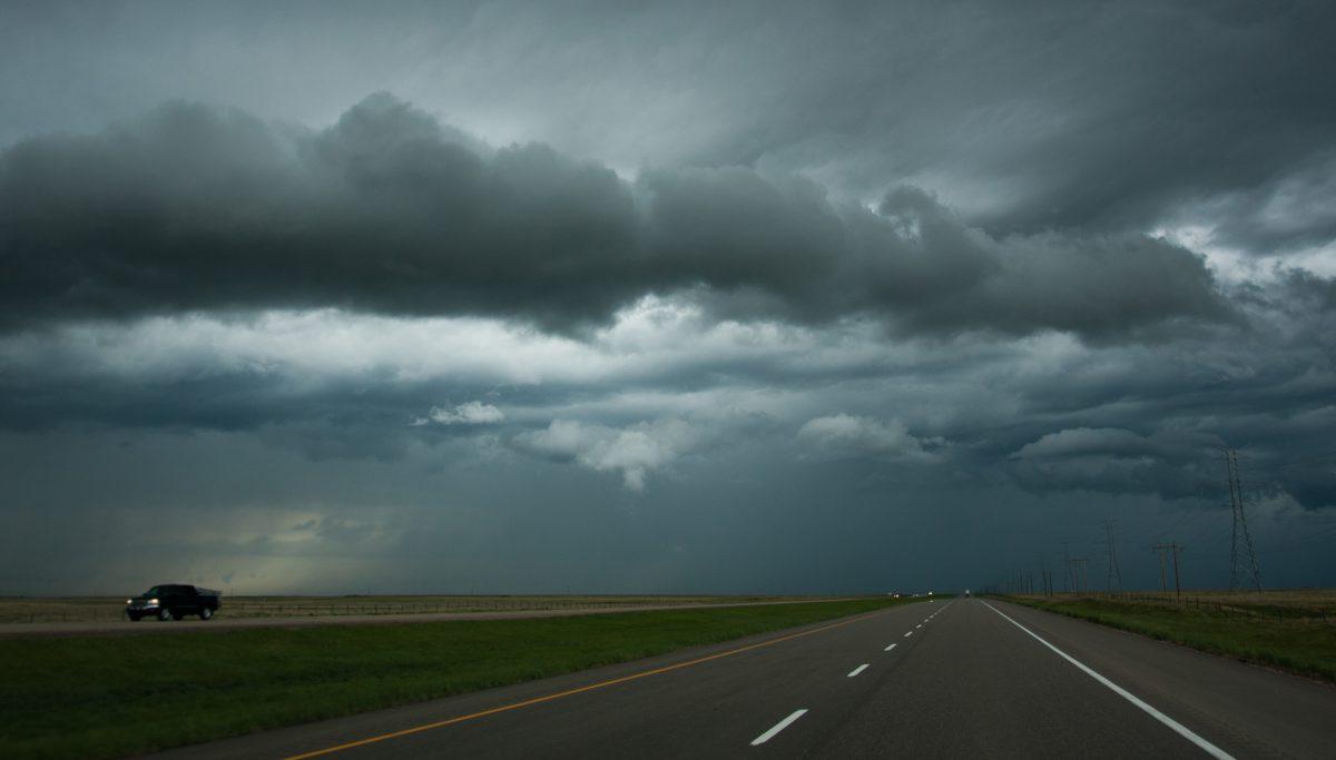 vehicle, cloud, rain, road
