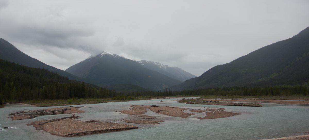 mountain, river