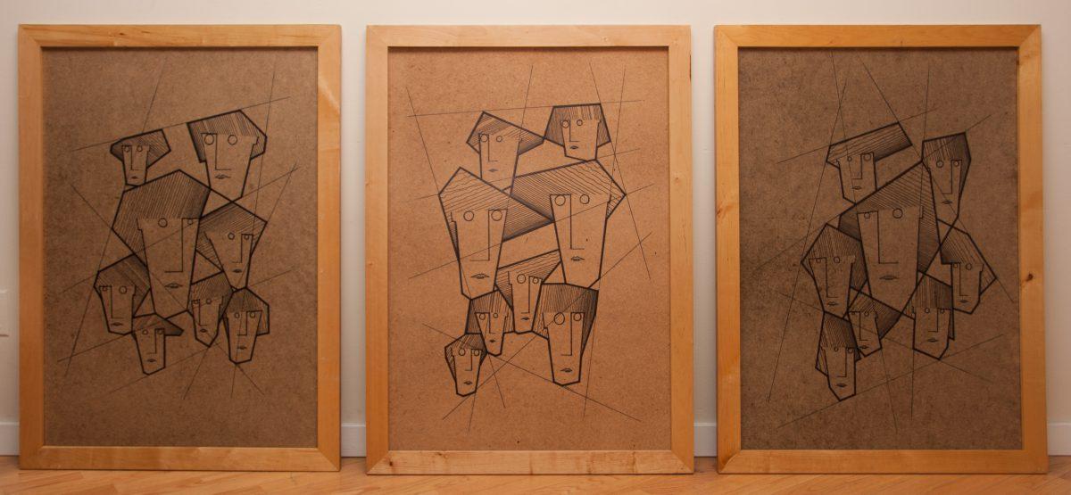 Eight Sisters Triptych - 70x100cm, pen on fibreboard, ch3, pen, wood, illustration, frame