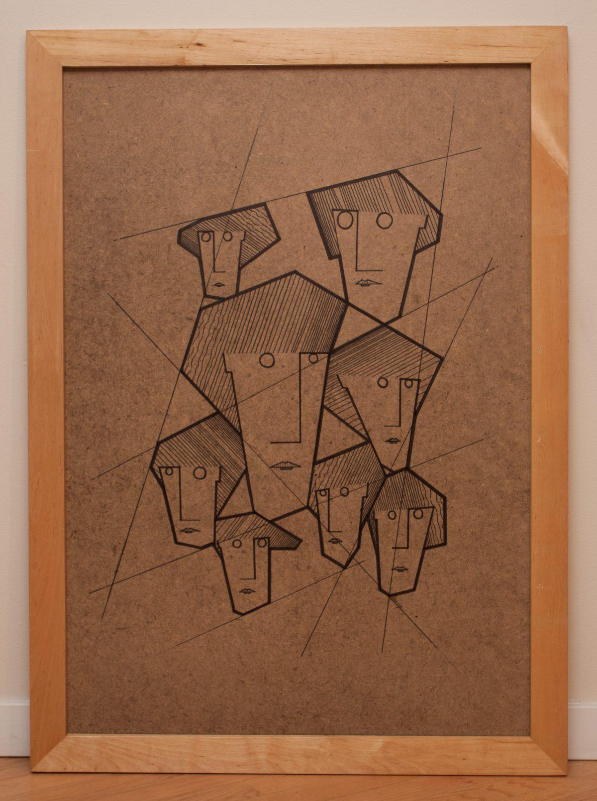 Eight Sisters 1/3 - 70x100cm, pen on fibreboard, ch3, pen, wood, illustration, frame