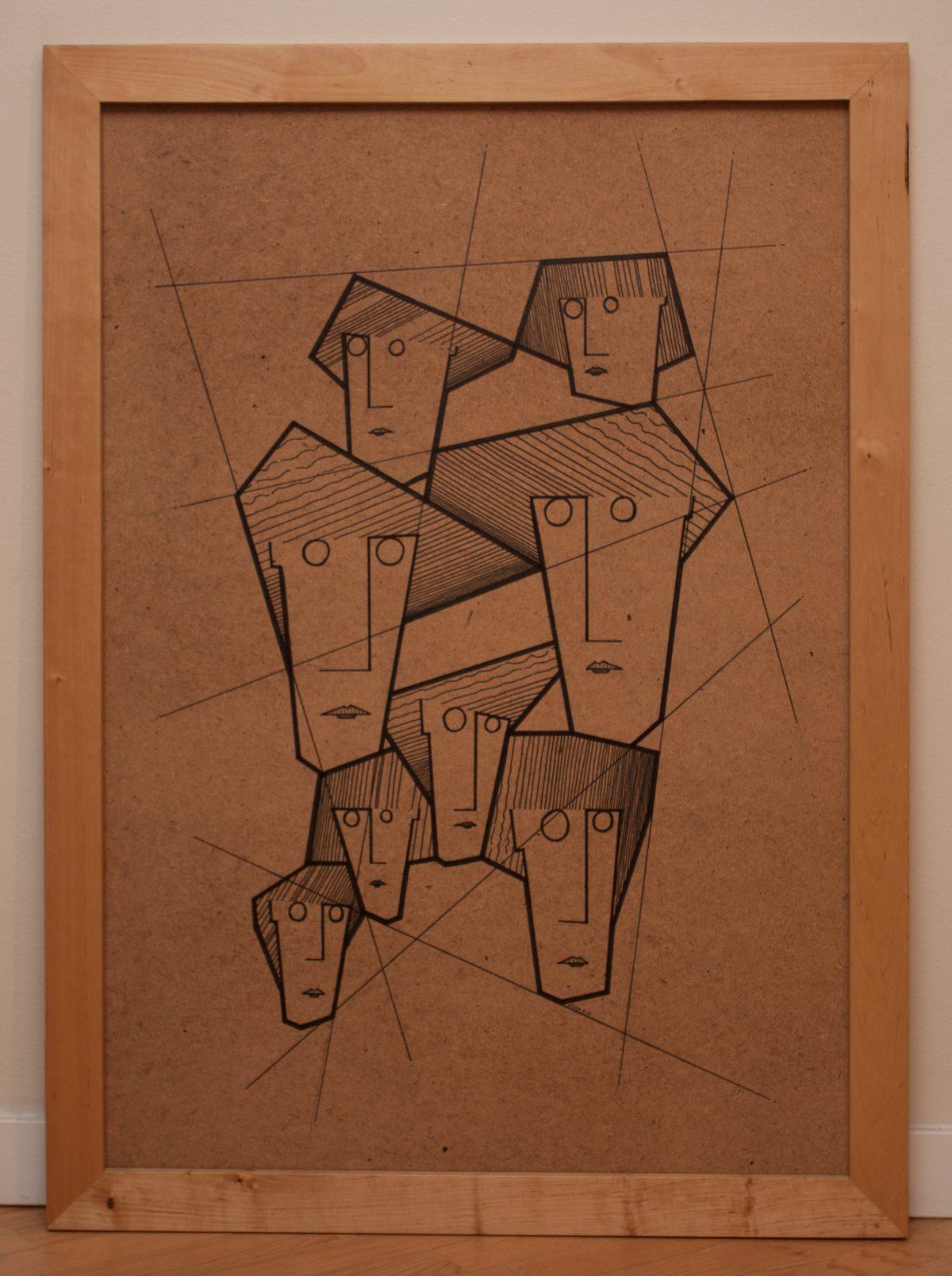Eight Sisters 2/3 - 70x100cm, pen on fibreboard, ch3, pen, wood, illustration, frame