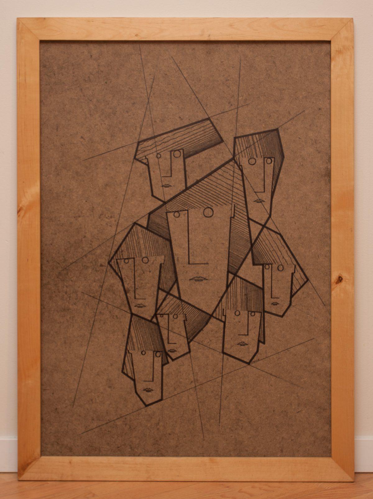 Eight Sisters 3/3 - 70x100cm, pen on fibreboard, ch3, pen, wood, illustration, frame