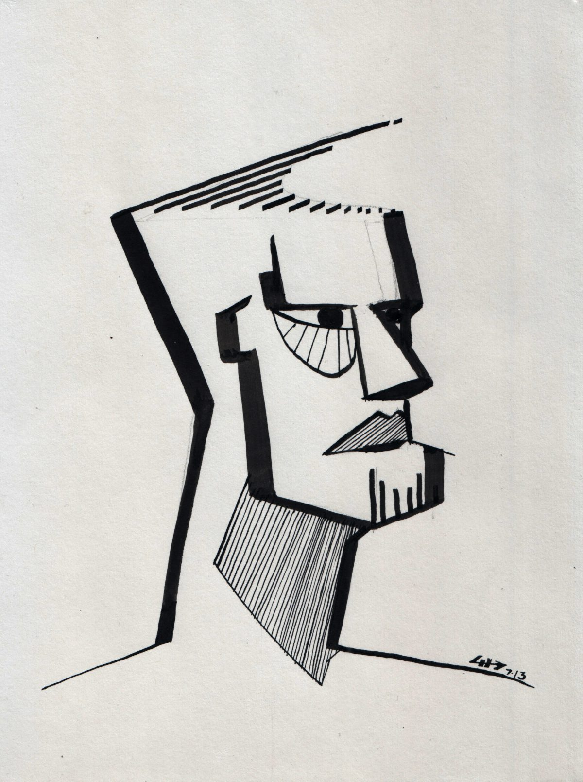 Man with nice haircut - 21x28cm, markers on paper, ink, paper, ch3