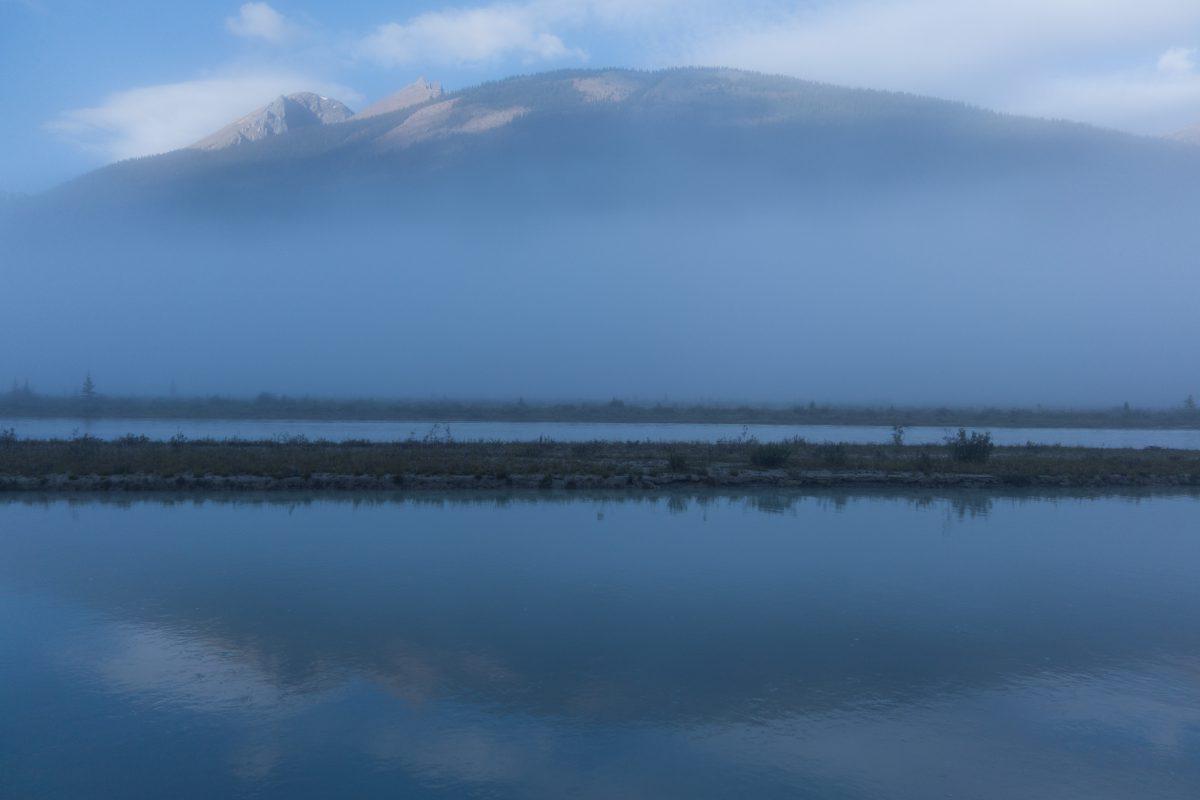 river, cloud, fog, view