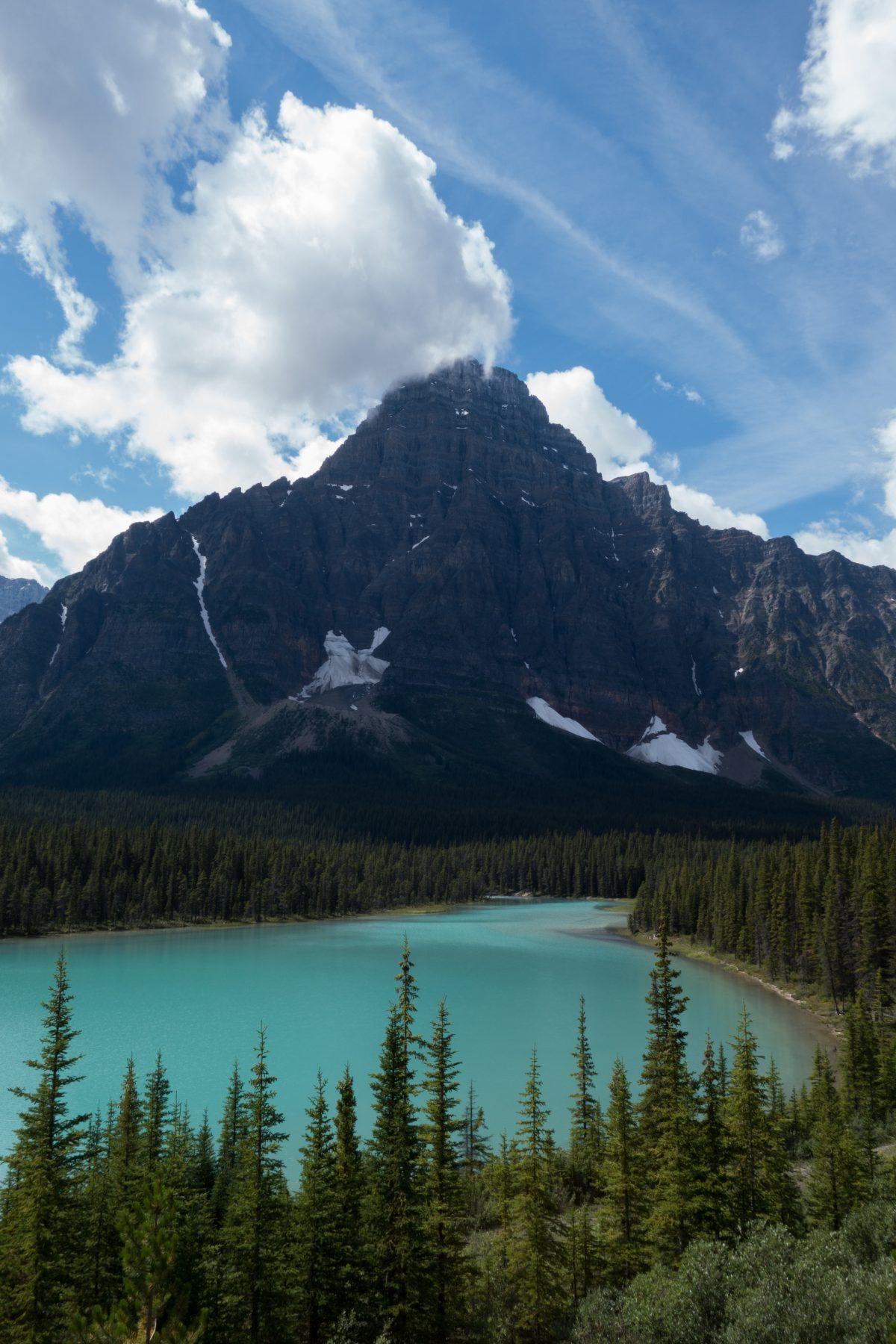 lake, mountain, cloud, view