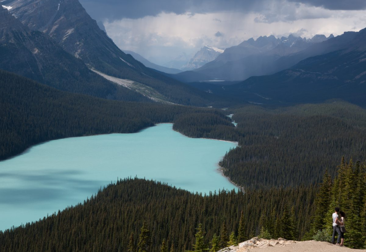Canadian Rockies, lake, forest, mountain, cloud, view