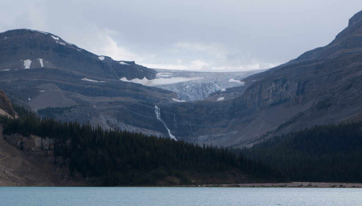 Icefields Parkway, waterfall, lake, mountain, cloud, view